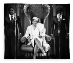 The Black And White Of Aretha Franklin Is The Queen Of Soul Fleece Blanket