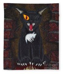 The Black Cat Edgar Allan Poe Fleece Blanket