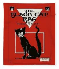 The Black Cat Rag 1905 Sheet Music Art Fleece Blanket