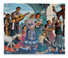 The Blessing Of Animals Olvera Street Fleece Blanket