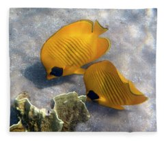 The Bluecheeked Butterflyfish Fleece Blanket