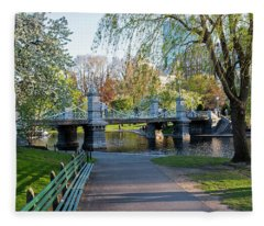 The Boston Public Garden In The Spring Boston Ma Fleece Blanket