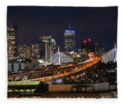 The Boston Skyline Boston Ma Full Zakim Fleece Blanket
