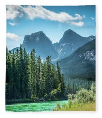 The Bow River At Canmore Fleece Blanket