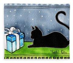 The Box Is Mine - Christmas Cat Fleece Blanket