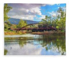 The Bridge At Vasona Lake Digital Art Fleece Blanket