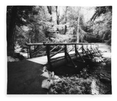 The Bridge Through The Woods In Black And White Fleece Blanket