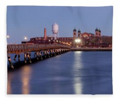 The Bridge To Ellis Island Fleece Blanket