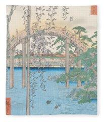 The Bridge With Wisteria Fleece Blanket