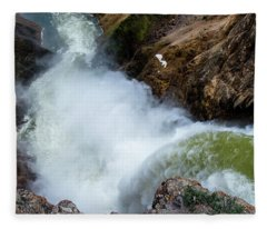 The Brink Of The Lower Falls Of The Yellowstone River Fleece Blanket