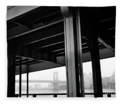 The Brooklyng Bridge And Manhattan Bridge From Fdr Drive Fleece Blanket