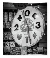 The Candy Wheel Point Pleasant Boardwalk Black And White Fleece Blanket