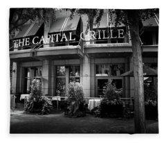 The Capital Grille In Black And White Fleece Blanket