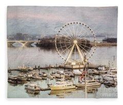 The Capital Wheel At National Harbor Fleece Blanket