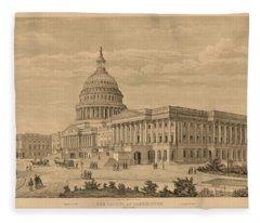 The Capitol At Washington Fleece Blanket