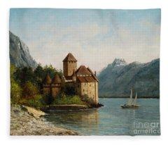 The Castle Of Chillon Evening Fleece Blanket