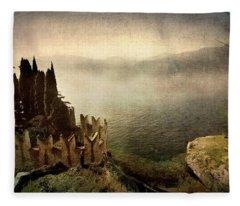 The Castle On The Lake. Malcesine Fleece Blanket