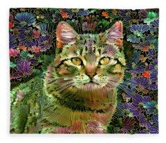 The Cat Who Loved Flowers 1 Fleece Blanket