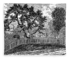The Charter Oak From A Painting By Isaac W. Stuart Fleece Blanket
