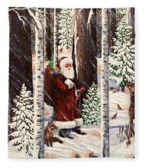 The Christmas Forest Visitor 2 Fleece Blanket