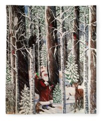The Christmas Forest Visitor Fleece Blanket