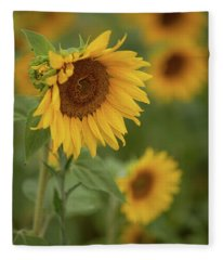 The Close Up Of Sunflowers Fleece Blanket