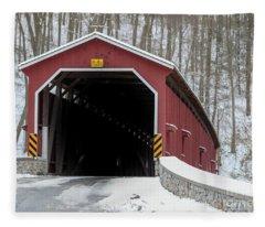 The Colemansville Covered Bridge In Winter Fleece Blanket