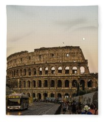 The Coliseum And The Full Moon Fleece Blanket