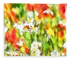 The Colors Of Spring On A Sunny Day Watercolor Fleece Blanket