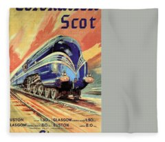 The Coronation Scot - Vintage Blue Locomotive Train - Vintage Travel Advertising Poster Fleece Blanket