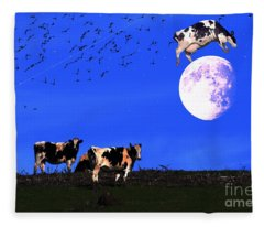 The Cow Jumped Over The Moon Fleece Blanket