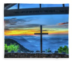 The Cross Sunrise At Pretty Place Chapel Fleece Blanket