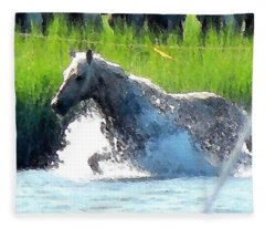 The Crossing - Chincoteague Pony Run Fleece Blanket