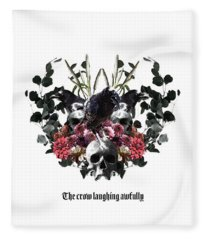 The Crow Laughing Awfully Fleece Blanket