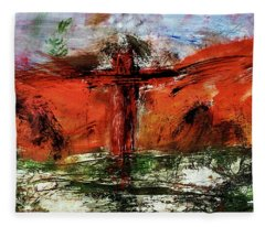 Fleece Blanket featuring the mixed media The Crucifixion #1 by Michael Lucarelli