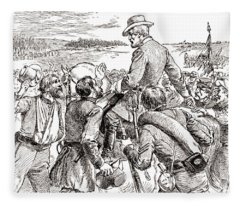 The Departure Of General Robert E Lee From His Soldiers Prior To His Surrender To Grant Fleece Blanket
