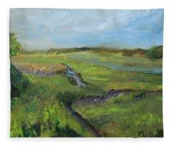 The Distant View Of The Marsh Fleece Blanket