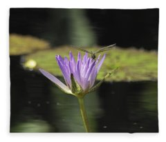 The Dragonfly And The Lily Fleece Blanket