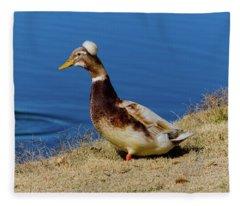The Duck With The Pillbox Hat Fleece Blanket