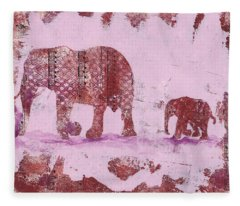 The Elephant March Fleece Blanket