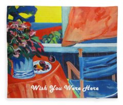 The Empty Blue Canvas Chair Fleece Blanket