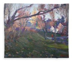 The End Of Autumn Day In Glen Williams On Fleece Blanket