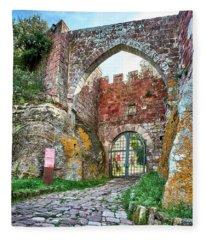 The Entrance To The Monastery Of Escornalbou Fleece Blanket