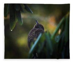 The Eurasian Blackbird Female In Spring Morning Fleece Blanket