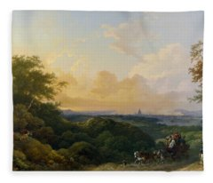 The Evening Coach, London In The Distance Fleece Blanket