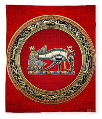 The Eye Of Horus On Red Fleece Blanket