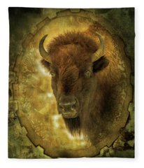 The Face Of Tatanka Fleece Blanket