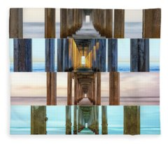 The Faces Of Scripps Pier #3 Fleece Blanket