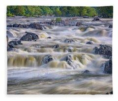 The Falls At Great Falls Park Fleece Blanket