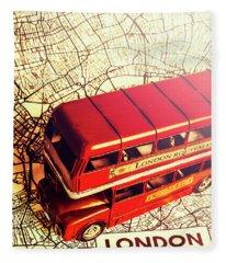 The Famous Red Bus Fleece Blanket
